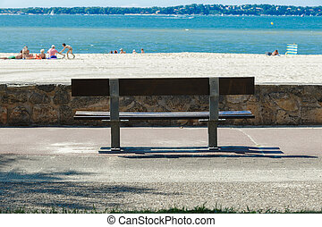 portrait of a bench by the sea