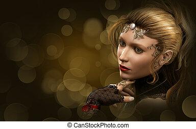Portrait of a blond Lady, 3d CG