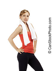 portrait of a blonde sporty woman with a towel on white background