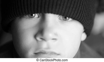 Portrait of a boy in a winter hat - Portrait of a child in a...
