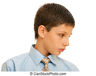 Portrait of a boy in formal shirt with tie