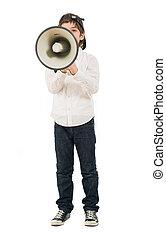 Portrait Of A Boy Shouting In Megaphone