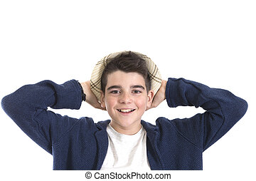 portrait of a boy smiling isolated on white background