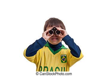 Portrait of a boy with binoculars o