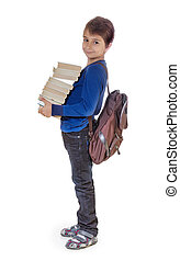 Portrait of a boy with school books. Isolate on white background
