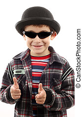 boy with sunglasses and hat