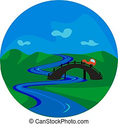 Portrait of a bridge over a river vector or color illustration