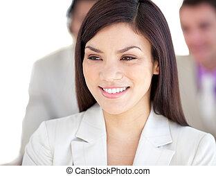 Portrait of a bright businesswoman