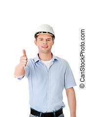 Portrait of a builder in a white helmet