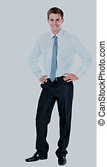 Portrait of a business man isolated on white background.