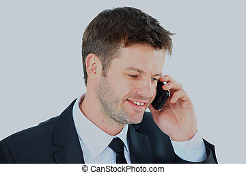 Portrait of a business man with phone isolated on white background.