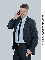 Portrait of a business man with phone isolated on white.