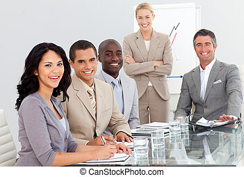 Portrait of a business team at a presentation