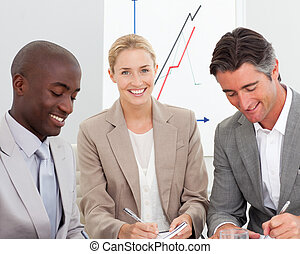 Portrait of a business team in a meeting