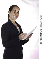 Portrait of a business woman holding a document
