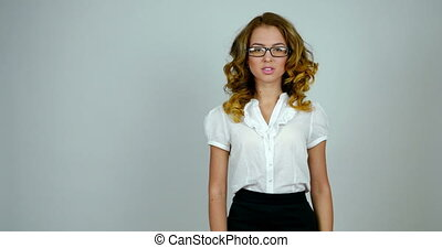 Portrait of a business woman in a studio. Medium shot. -...