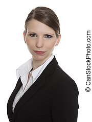 Portrait of a business woman smiling on white background
