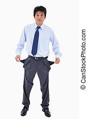 Portrait of a businessman showing his empty pockets