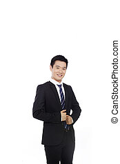 Portrait of a businessman standing with arms akimbo high quality photo