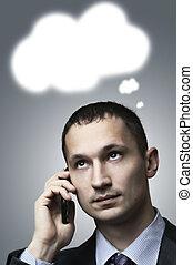 Portrait of a businessman thinking
