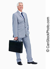 Portrait of a businessman with a suitcase