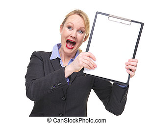 Portrait of a businesswoman with crazy expression showing blank sign clipboard