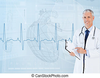 Portrait of a cardiologist smiling against a medical...