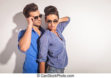 Portrait of a casual couple posing