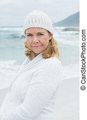 Portrait of a casual senior woman at beach