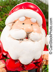 portrait of a ceramic Santa Claus closeup