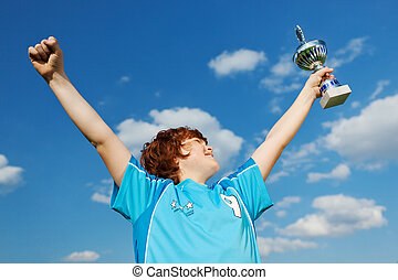champion celebrating victory - portrait of a champion...