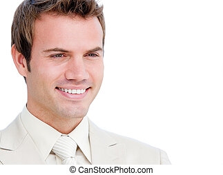 Portrait of a charismatic businessman isolated on a white...