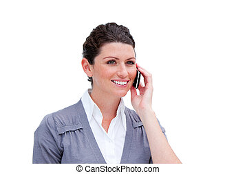 Portrait of a charismatic businesswoman on phone isolated in...