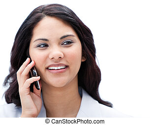 Portrait of a charismatic businesswoman talking on phone