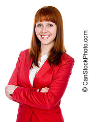 Portrait of a cheerful business woman in a red jacket