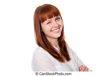 Portrait of a cheerful girl winking eye