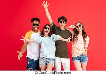 Portrait of a cheerful happy group of multiracial friends