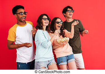 Portrait of a cheerful young group of multiracial friends