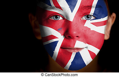 child with a painted British flag