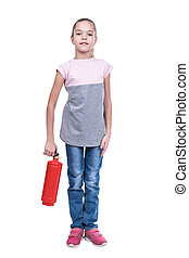 Portrait of a child with fire extinguisher