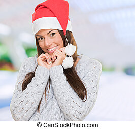 Portrait of a christmas woman smiling