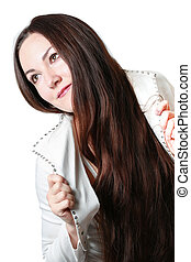 portrait of a close-up beautiful woman with brunette hair on an isolated white background