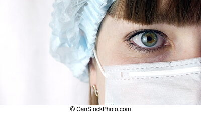 Portrait of a Close Up Woman Surgeon, Doctor With Mask Ready for Operation in Hospital or Clinic. Doctor's eyes