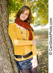 Portrait of a colorful fall fashion girl.