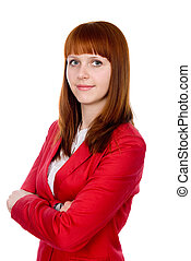 Portrait of a confident business redheaded girl. Isolated