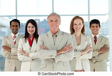 Portrait of a confident multi-ethnic business team