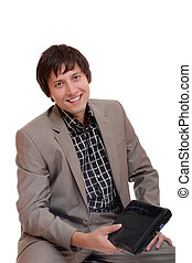 young business man sitting with laptop