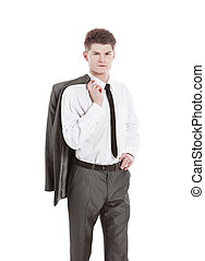 portrait of a confident young man .isolated on white