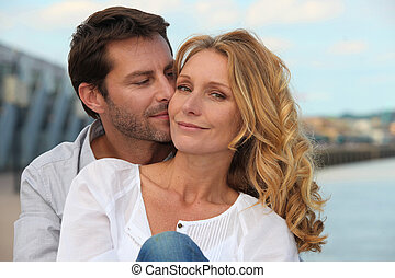 Portrait of a couple by the sea