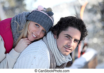 Portrait of a couple by wintertime